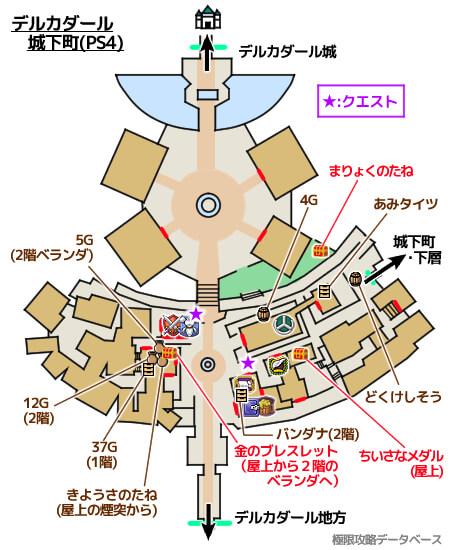 デルカダール城下町PS4攻略マップ