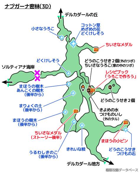 ナプガーナ密林3DS攻略マップ3Dモード