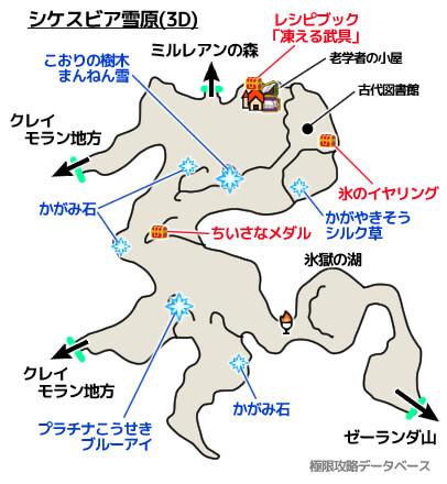 シケスビア雪原3DS攻略マップ3Dモード